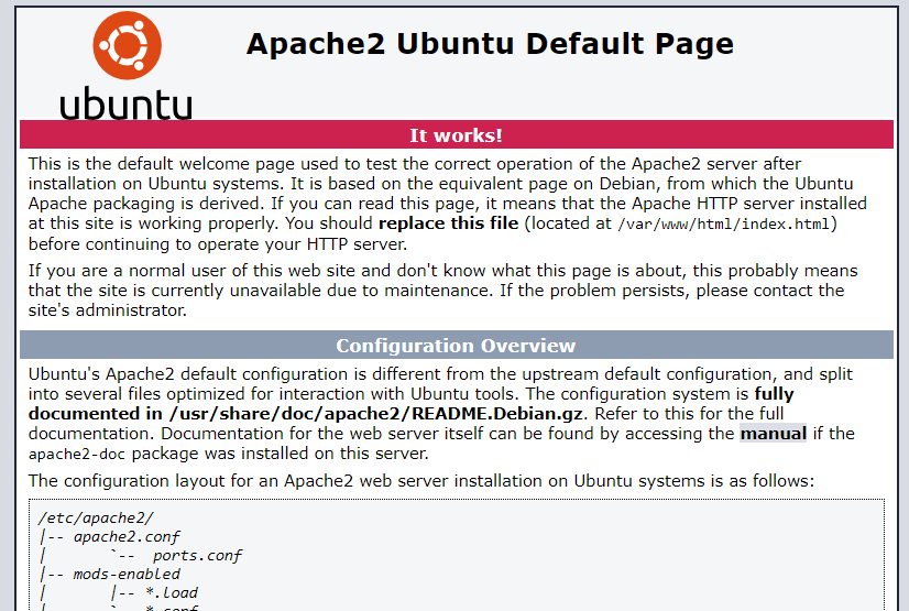 Default apache website